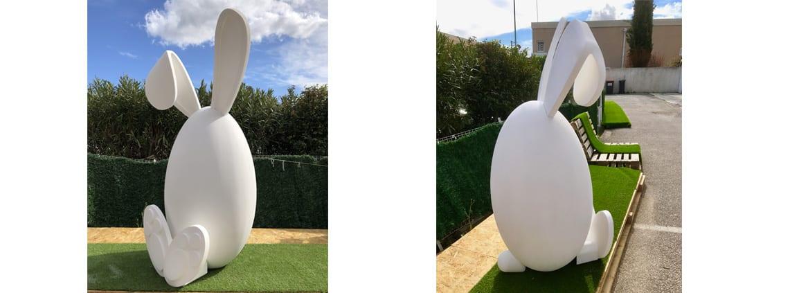 objet factice en polystyrene lapin
